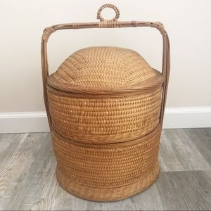Vintage Chinese Wedding Wicker Basket Tiered